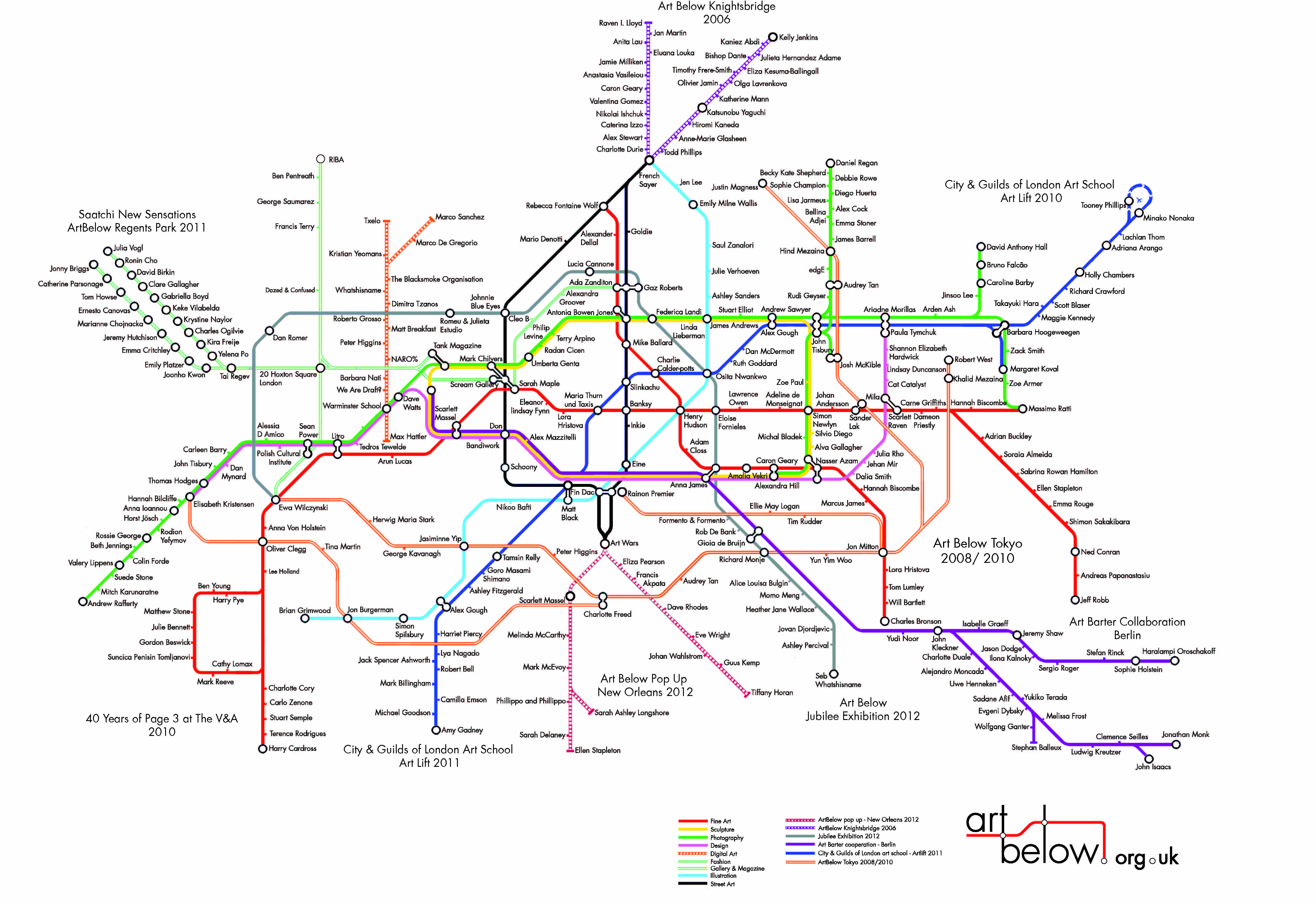 Your name is featured on The Art Below Tube Map