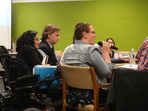 IMAGE (right): Australian NGO Youth Delegate Bonnie Millen participating in side event