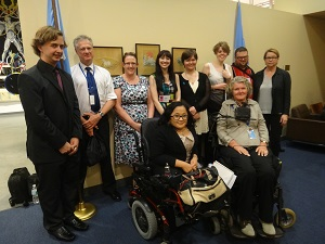 IMAGE: Australian Youth Delegation meet with Mr Evan Lewis from the Australian Department of Social Services and a member of the Australian Government Delegation to the COSP.