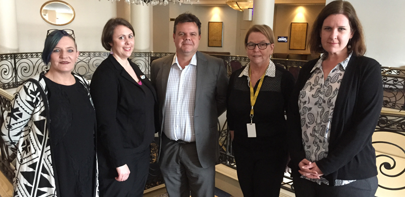 Image: Australian Cross Disability Alliance members Carolyn Frohmader, Jess Cadwallader, Damien Griffis, Therese Sands and Jane Flanagan appearing before a Senate Committee inquiring into violence, abuse and neglect against people with disability in institutional and residential settings.