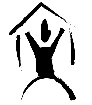 IMAGE: Black figure of a human with arms and legs outstretched in the shape of a house, support a roof.