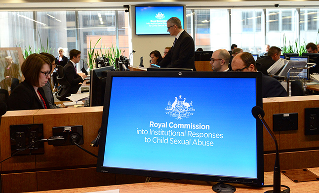 IMAGE: The Royal Commission into Institutional Child Sexual Abuse logo is displayed on on a computer as one of the public hearings gets underway.