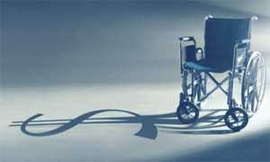 Image: Wheelchair with a dollar sign as shadow