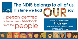 IMAGE: The NDIS belongs to all of us. It's time to had OUR say. A person centred scheme needs feedback from the people. A row of faces are at the end of the image.