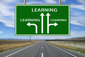 IMAGE: IMAGE: Road sign with the word 'learning' repeated on it three times. There are arrows pointing from the words.