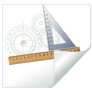 Image: Ruler, protractor and circles drawn on a sheet of paper. The bottom right corner of the paper is curled upwards.
