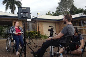 Rebecca being filmed and interviewed by Screencraft in July 2013 in Bundaberg, Queensland.